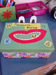 Το μαγικό κουτί της...Κατερίνας: Ο Γραμματο...φάγος του χειμώνα και χειμωνιάτικα παιχνίδια :) Language Activities, Preschool Activities, Alphabet, Learn Greek, Kids Homework, Preschool Education, Classroom Games, Always Learning, Kids Corner