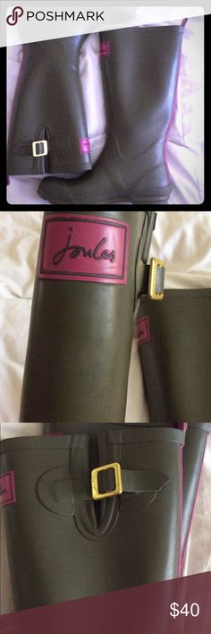 Joules Rain Boots Size 8, army green with pink accents! Super cute and unique combo! Worn twice! Perfect condition! Joules Shoes Winter & Rain Boots