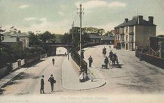 Hampshire, Fareham Railway Station c.1906 - children on the street and horse rider and horse and buggy