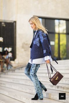 Streetstyle of Annabel Rosendahl wearing a a Loewe bag and a Isabel Marant blouse during Paris Fashion Week Spring Summer 2017