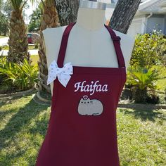 Pushseen Cat Apron / Maroon apron with a Cat embroidery in Silver grey / Custom Apron /Hostess gift idea / by Wheelering on Etsy