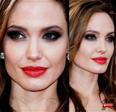 Angelina Jolie makeup Angelina Jolie Makeup, Makeup Boutique, Straight Nose, Eye Makeup, Hair Makeup, Makeup Transformation, Jawline, Her Smile, Brad Pitt