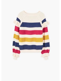 White knitted sweater with blue, red and yellow stripes