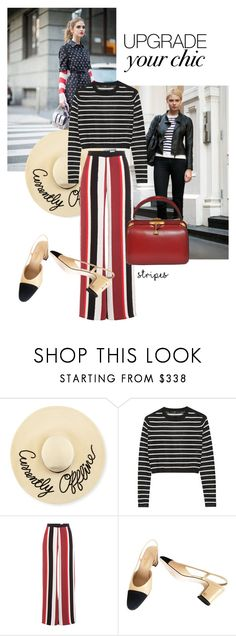 """stripes all over"" by black-eclipse-red-sky ❤ liked on Polyvore featuring Eugenia Kim, TIBI, Zeus+Dione, Chanel, stripes and offdutymodels"