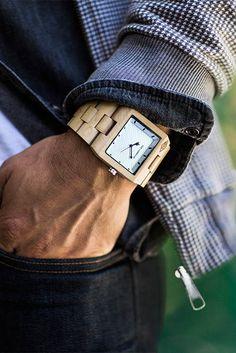 Angeleno Wood Watch - The Garwood Sharp Dressed Man, Well Dressed Men, Beautiful Watches, Beautiful Men, Dope Fashion, Mens Fashion, Wooden Watch, Gentleman Style, Men Dress