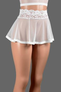 This skirt is great for layering over leggings or wearing as lingerie. It's made out of stretchy white mesh fabric and it has a stretch lace waistband. Wear it low-waisted or higher up on your waist. Sexy Outfits, Lingerie Outfits, Skirt Outfits, Fashion Outfits, Jolie Lingerie, Pretty Lingerie, Cute Skirts, Mini Skirts, Mesh Skirt