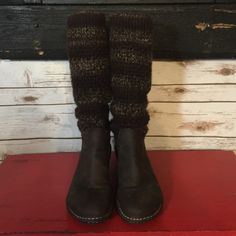UGG sweater boots Women's size 9 UGG sweater boots. Lots of wear and a very long life left in them. These boots are in great shape. There is quite a bit of pilling reflected in price. But the leather is gorgeous with no marks. Wear them pulled up, fold down or slouch. UGG Shoes Winter & Rain Boots