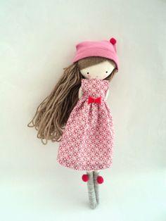 Isabella rag doll cloth art rag doll pink ♡by lassandaliasdeana