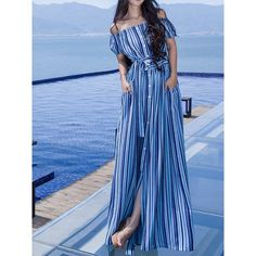 Choies Blue Stripe Off Shoulder Button Up Tie Waist Maxi Beach Dress (36 AUD) ❤ liked on Polyvore featuring dresses, blue, button up maxi dress, striped maxi dress, off the shoulder maxi dress, blue striped dress and beach maxi dress