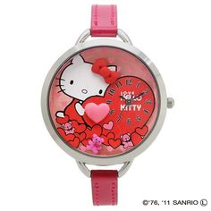 5bdc2127f388 RARE Hello Kitty Watch Pink Heart Decoration with A Box Set Sanrio Japan