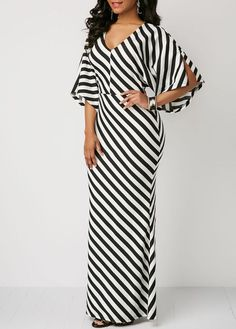 Striped V Neck Slit Sleeve Maxi Dress Backless Maxi Dresses, Maxi Dress With Sleeves, Short Beach Dresses, Latest African Fashion Dresses, African Dress, Vintage Dresses, Casual Dresses, Fashion Outfits, Fashion Advice