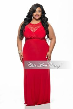 New Plus Size Gown with Lace Front and Back Detail in Red – Chic And Curvy