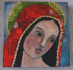 The beautiful Virgin Mary painted on wooden cradled canvas. Religious Images, Religious Icons, Religious Art, Blessed Mother Mary, Divine Mother, Madonna, Religion Catolica, Queen Of Heaven, Painting & Drawing