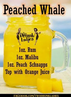 Peached whale recipe Try mango or pineapple juice instead Cocktails, Cocktail Drinks, Martinis, Liquor Drinks, Alcoholic Drinks, Refreshing Drinks, Yummy Drinks, Alcohol Drink Recipes, Cocktail