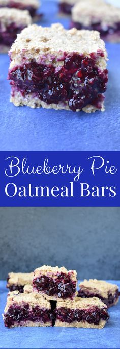 Blueberry Pie Oatmeal Bars are loaded with homemade blueberry pie filling nestled between two chewy oat layers. They are nutritious, gluten-free and vegan and make the perfect breakfast or snack! #blueberry #blueberries #oatmeal #oats #breakfast #bars #healthy #vegan #oatmilk #glutenfree Healthy Blueberry Pies, Blueberry Pie Bars, Homemade Blueberry Pie, Oatmeal Bars Healthy, Blueberry Crumble, Blueberry Recipes, Blueberry Breakfast, Breakfast Bars, Perfect Breakfast