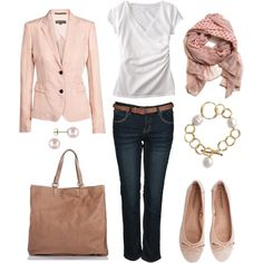 Pale Pink and Denim, created by bluehydrangea on Polyvore
