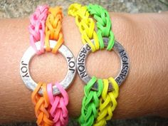 This would be a great craft project as shown, or a single row of one or multi-color bands.  Just loop colored rubber bands until they fit around wrist and secure with a jewelry ring closure.    Double Rubber Band Charm Bracelets by RazzleDazzleCompany on Etsy