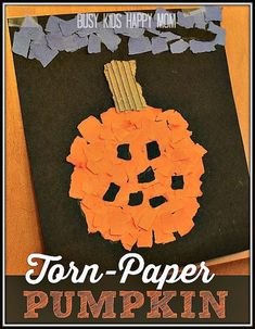 Looking for an adorable Halloween pumpkin craft? Busy Kids Happy Mom has an easy idea that is great for home or the classroom. Kids as young as toddlers up through school-aged kids will enjoy tearing up paper and then sticking the pieces together in this torn-paper pumpkin project. It's so simple, and looks great!