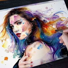 New Video on my Channel (Link in Bio ) Finally made it the struggle was real and after I failed I am happy I went for a second try :) do you also have these moments where you just quit to start again? #watercolor #watercolors #portrait #drawing #girl #painting #colorful #art #artwork #art #emotional #fashion #illustration
