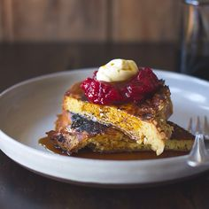 pumpkin challah french toast with cranberry jam and creme fraiche ...