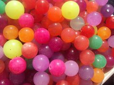 Neon Rainbow CHALCEDONY Smooth Round Beads by amandalynnesupplies, $3.99