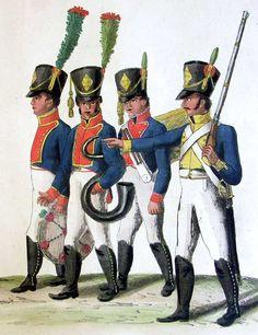 Músicos y soldados Regimiento Cataluña con su nuevo uniforme