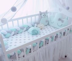 babyzimmer in mint und grau babybett kissen eule baby room in mint and gray baby cot pillow owl - Baby Bedroom, Baby Boy Rooms, Baby Room Decor, Baby Boy Nurseries, Nursery Room, Mint Nursery, Nursery Decor, Baby Cot Bumper, Baby Crib Bumpers