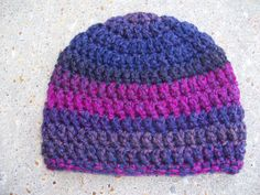 multi colored Crochet Baby Hat in Orchid by AngieHallHaviland, $8.00
