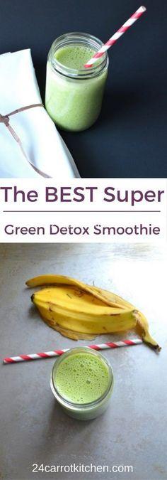How To Make The BEST Super Green Detox Smoothie! Paleo, vegan, gluten-free, dairy free.