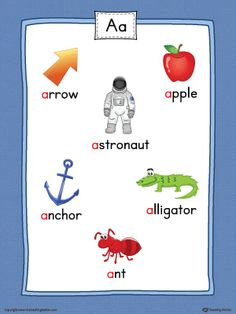 Short Letter A Word List with Illustrations Printable Poster (Color) Worksheet.Use the Short Letter A Word List with Illustrations Printable Poster to play letter sound activities or display on a classroom wall. Letter L Words, Alphabet Words, Alphabet Pictures, Alphabet For Kids, Word Pictures, Jolly Phonics, Phonics Sounds, Alphabet Phonics, Phonics Flashcards