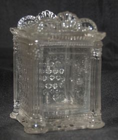 ANTIQUE VICTORIAN EAPG GLASS SAVINGS BANK SAFE BUILDING NOVELTY PENNY STILL BANK