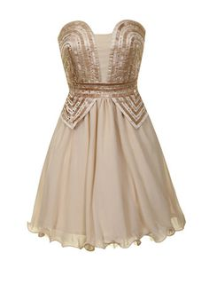 Cream bandeau party dress, with heavily embellished rose gold sequin corset bustier.