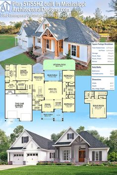 Architectural Designs House Plan 51755HZ built by our client, HD Homes, in Mississippi. 3BR, 2BA, 2,000+SF PLUS a bonus room with bath over the garage. Ready when you are! Where do YOU want to build? #51755HZ #adhouseplans #architecturaldesigns #houseplan #architecture #newhome #newconstruction #newhouse #homedesign #dreamhome #dreamhouse #homeplan #architecture #architect #craftsmanhouse #craftsmanplan #craftsmanhome