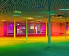 manchester-based artist liz west has installed 'your colour perception' within all square feet of the exhibition space using fluorescent bulbs and cellulose gels. Luminous Colours, Light Colors, Art Public, Instalation Art, Light Art Installation, Lights Artist, Creators Project, Neon Aesthetic, Exhibition Space