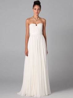 A-line Floor-length Chiffon Strapless Ruffles Dress