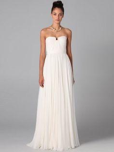 A-line Floor-length Chiffon Strapless Ruffles Dress