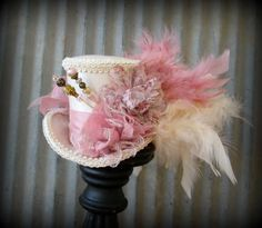 Blush pink and Cream Mini Top Hat, Alice in Wonderland, Mad Hatter Hat, Steampunk mini top, Tea Party Wedding Mini top hat, Tea Party Hat
