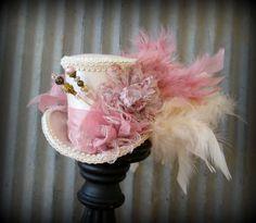 Mini Top Hat, Blush hat, Alice in Wonderland, Mad Hatter Hat, Wedding Mini top hat, Tea Party Hat, Royal Ascot, Kentucky Derby