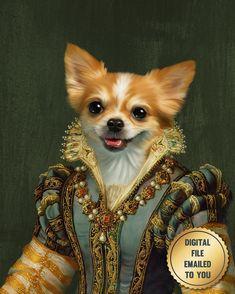 Dog Paintings, Original Paintings, Portrait Renaissance, Human Art, Memorial Gifts, Chihuahuas, Wow Products, Photomontage, Pet Portraits