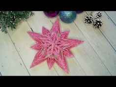 Foam Christmas Ornaments, Christmas Star, Christmas Crafts, Ribbon Work, Bottle Crafts, Xmas Decorations, Quilling, Snowflakes, Projects To Try