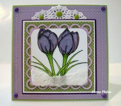 Gina K Designs, Signs Of Spring, by Theresa Momber.  Note Card.  Crocus and snow.