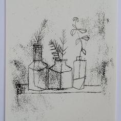 Bottles and sprigs - monoprint drawing Zine, Linocut Prints, Art Prints, Art Alevel, Etching Prints, Expressive Art, Encaustic Painting, Painted Paper, Art Club