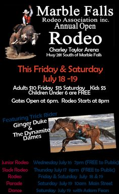 Marble Falls Rodeo – July 18th & 19th | Play LOCAL in Marble Falls!  Marble Falls Rodeo is THIS Weekend! July 18-19 www.marblefallsrodeo.org This ad is sponsored by www.WeAreMarbleFalls.com Play, Dine & Shop LOCAL in Marble Falls!
