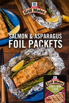 Grilled Salmon & Asparagus Foil Packets - Can't go wrong with a meal of tender, flaky grilled salmon and fresh asparagus. McCormick® Grill Mates® Garlic, Herb & Wine Marinade keeps the prep easy and the flavor bold. Grilling Recipes, Fish Recipes, Seafood Recipes, Dinner Recipes, Cooking Recipes, Healthy Recipes, Grilled Salmon Recipes, Grilled Food, Grilling Ideas