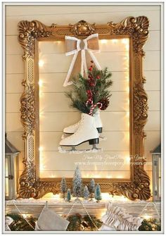 I like the idea of a large frame...but use wreath with the skates. Different bow.