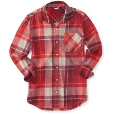 Aeropostale Long Sleeve Plaid Flannel Woven Shirt ($18) ❤ liked on Polyvore featuring tops, red, red plaid top, long sleeve shirts, red flannel shirt, woven shirt and red top
