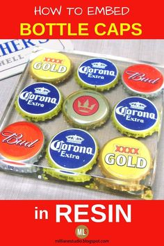 What better way to fit out a home bar than with a set of these DIY bottle cap coasters! Collect your favourite beer bottle caps and then set them in resin for a great talking point with your mates as well as an enjoyable way to upcycle something you'd normally throw away. #MillLaneStudio #mancaveideas #homebaressentials #homebaressentialscraftbeer #bottlecapprojects #diygiftsformen