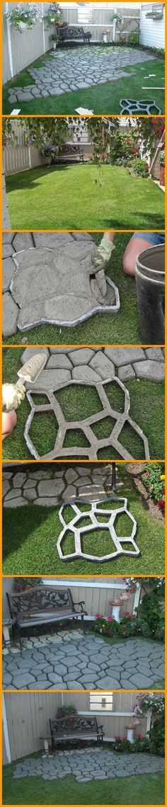 A concrete stencil can do magic for your backyard! This DIY paved patio is a great example. http://theownerbuildernetwork.co/j7da (Step Design Stone)