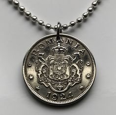 1924 Romania 2 Lei coin pendant charm necklace jewelry Romanian kingdom Keychain coat of arms rampant LION Leo crown Bucharest Copper Nickel, Coin Pendant, Bucharest, Coat Of Arms, Romania, Pocket Watch, Leo, Stencils, Coins