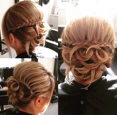 Waterfall Braid on Looped Updo - 18 Best Wedding Hairstyles for Women with Thin Hair - EverAfterGuide